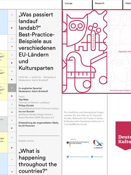 Übersicht Programm der Konferenz zu Geschlechtergerechtigkeit, Deutscher Kulturrat